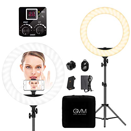 Two Light Kit - GVM LED Ring Light kit 18 inch, 256 Beads Eye Protection , Two-color White/Yellow, with Bluetooth Receiver, Stand, Phone Holder, Power, Handbag,1 Warranty