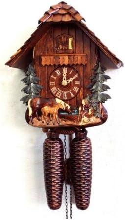 August Schwer Cuckoo Clock Horses Scene