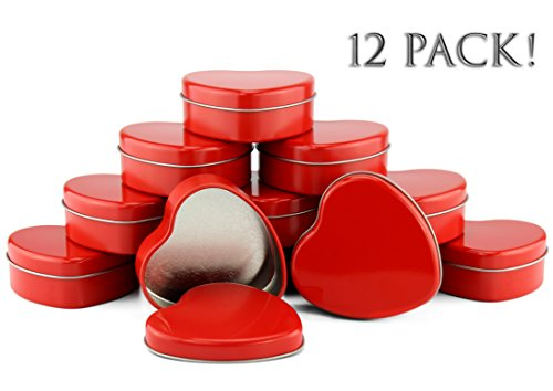 Red Heart Metal Tins (12-Pack); 2.75-Inch Heart-Shaped Containers for Favors, Gifts, Candles & Arts & (Wedding Rings Mint Tin)