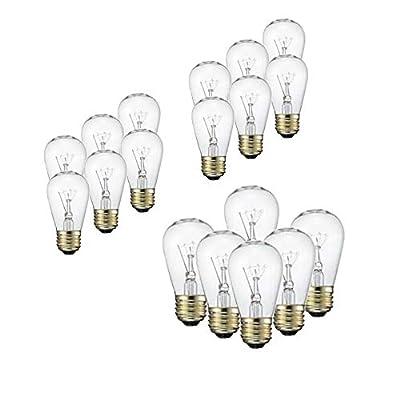 SUNTHIN (18Pack) S14 Light Bulbs for String Lights, E26 Medium Base, 11 Watt Incandescent Glass Lights Bulb for Commercial Grade Outdoor Patio Garden Vintage String Lights