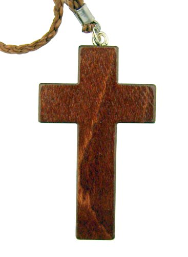 Religious Gift 2 Inch Natural Mahogany Wood Brown Christian Latin Cross on 30 Inch Rope Chain