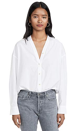 Vince Women's V Neck Button Down, Optic White, X-Small