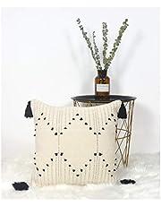LIGICKY Decoratieve Boho kwastjes gooien kussenhoezen voor bank bank bank slaapkamer woonkamer woondecoratie vierkante geweven katoenen kussenhoes moderne zwart-wit kussenslopen 18 x 18 inch