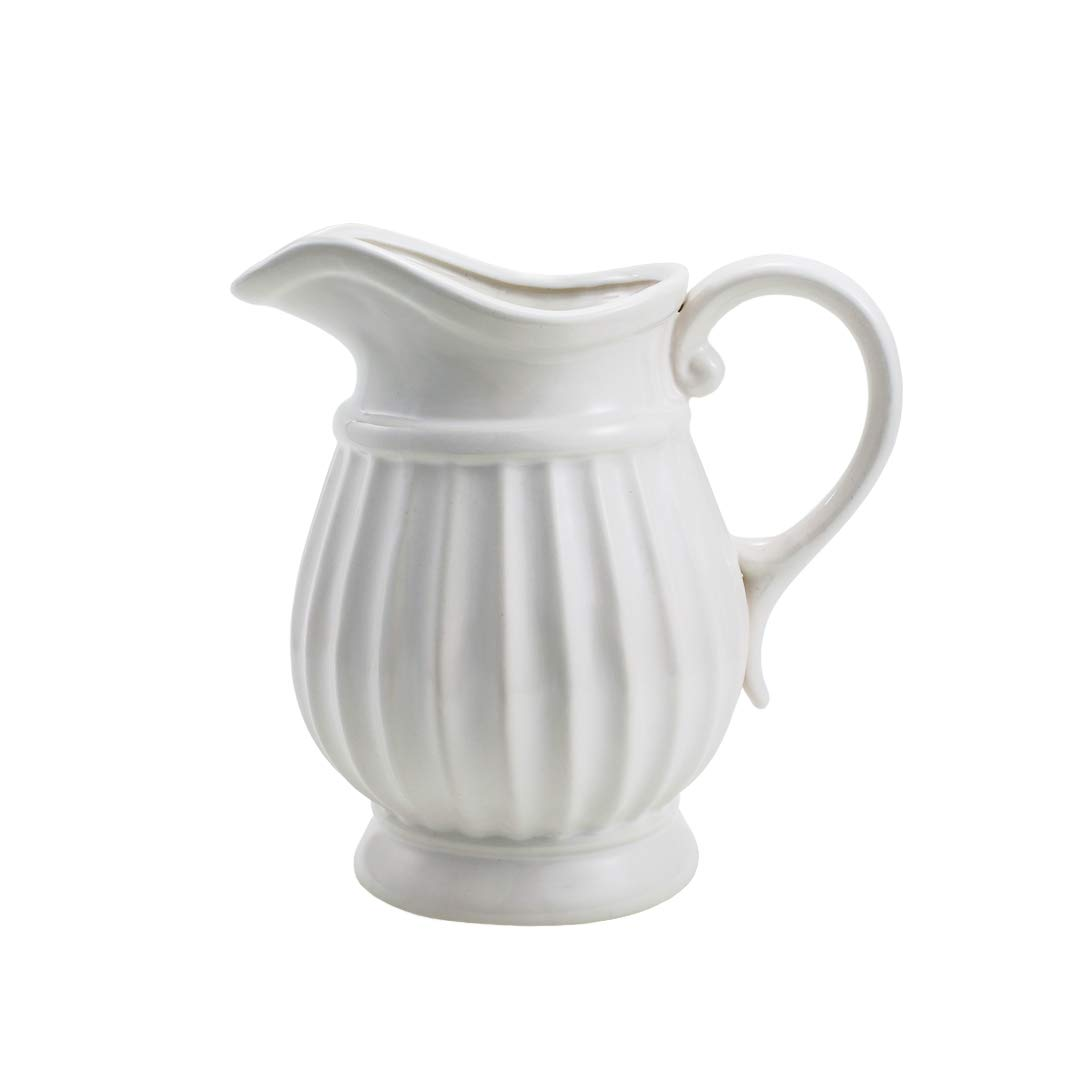 D'vine Dev 7 inches Tall White Ceramic Pitcher Vase Decorative Pitcher Flower Vase Flower Bouquet