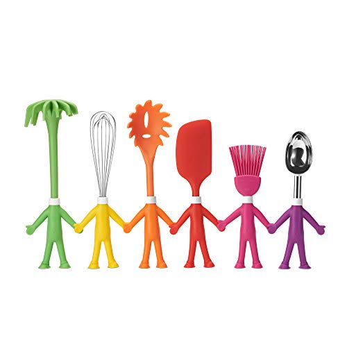 Kitchen Utensil Set – 6 Cooking Utensils in Human Shapes – Colorful Silicone Kitchen Utensils – Nonstick Cookware Best Kitchen Tools Kitchen Gadgets