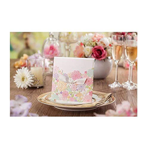 Graces Dawn 50pcs Laser-cut Lace Hollow flower Wedding Invitations Cards(set of 50pcs) and Blank Cards and Envelopes 6x 6