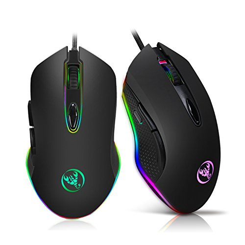 Gaming Mouse Programmable 4800DPI 6 Buttons RGB Backlit USB Wired Optical Mouse Gamer for PC Computer Laptop game player Ordinary user by fhong