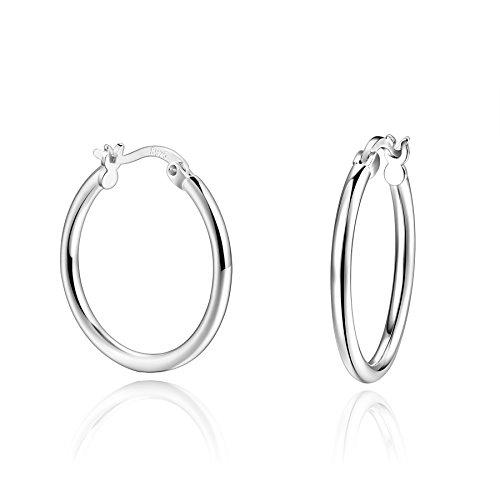 Sterling Silver Clip On Tube Huggie Hoop Earrings Women Girls 23mm Diameter ()