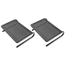 Monitor Stand Riser with Vented Metal for Computer, Laptop, Desk, Printer with 14.5 Platform 4 inch Height – Black (2 Pack)