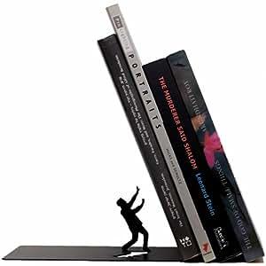 "Artori Design Falling Bookend - ""Falling Books"" Black Metal Bookend - Cool Bookends, Decorative Art, Gifts for Boyfriend, Books Stopper, Office Home Gift."
