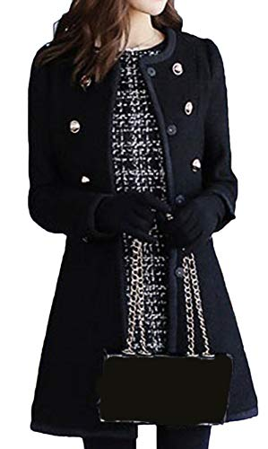 Fourrure Automne Parka Jacket Laine Double Grande Hiver Manches Boutons Range Bevalsa Femme Chaud Noir Slim Trench Longue Hiver Taille de de Manteau vq8wgXT