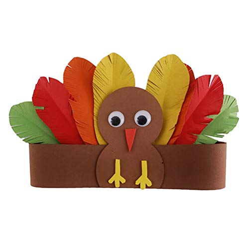 BESTOYARD Thanksgiving Turkey Costume Hat Headband for Kids and Adults DIY Handmade Paper Hat Decoration Accessories