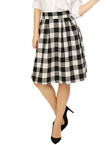 Allegra K Women Inverted Pleats A-line Check Print Knee Length Skirt M (Check Print Skirt)