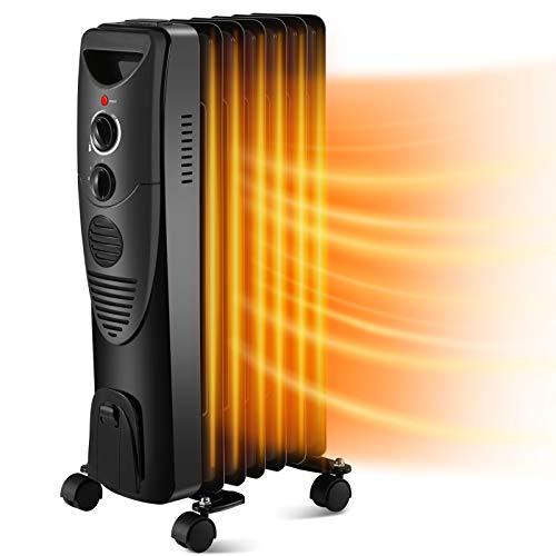 Kismile 1500W Oil-Filled Radiator Heater, Oil Heater with Indicator Lights, 3 Heat Settings, Heater with Adjustable…