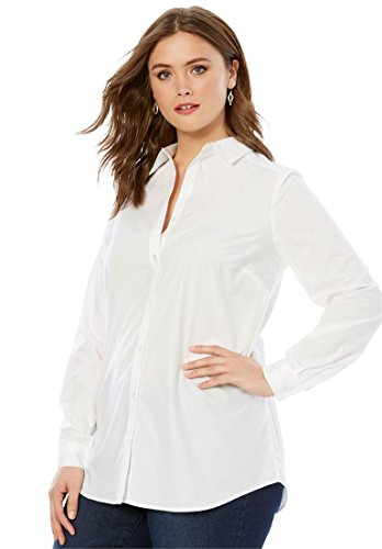 Roamans Women's Plus Size The Kate Shirt White,22 W