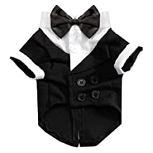 SODIAL(R) Pet Dog Cat Clothes Wedding Dress up Suit Halloween Tuxedo Costume Tie Shirt, M black