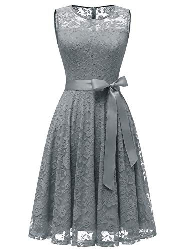 Dressystar 0009 Floral Lace Dress Short Bridesmaid Dresses with Sheer Neckline Grey XL