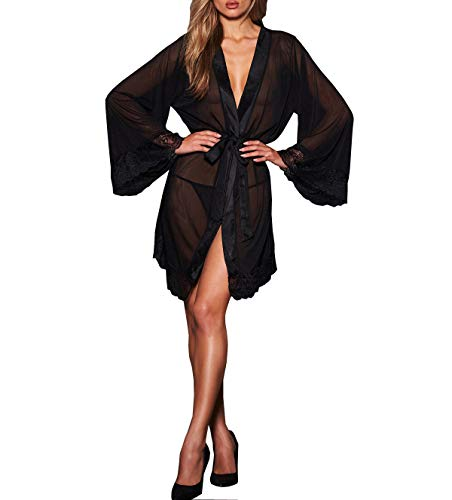 Frederick's Of Hollywood Women's Lace & Mesh Robe - Sexy Lingerie & Sleepwear - Valencia Black, X-Large