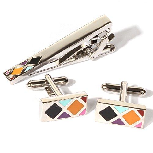 (Digabi Plated Platinum Rectangular Oil Drip Cufflinks and Tie Clip Set with Nice Box (White))