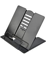 QLOUNI Opvouwbare leesstandaard, 21 x 19 cm, metalen boekensteun, zwarte kookboekhouder, multifunctionele boekhouder, boekenstandaard met verstelbare helling, draagbare boekenstandaard
