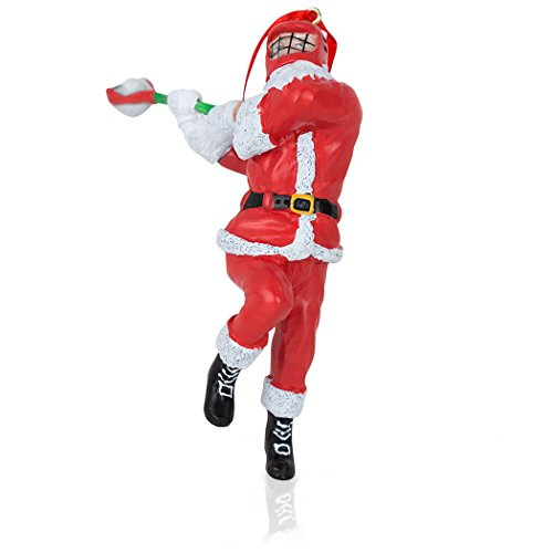 ChalkTalkSPORTS Santa Lacrosse Player Christmas Ornament | Guys Lax Holiday Ornament (Christmas Ornament Player Lacrosse)