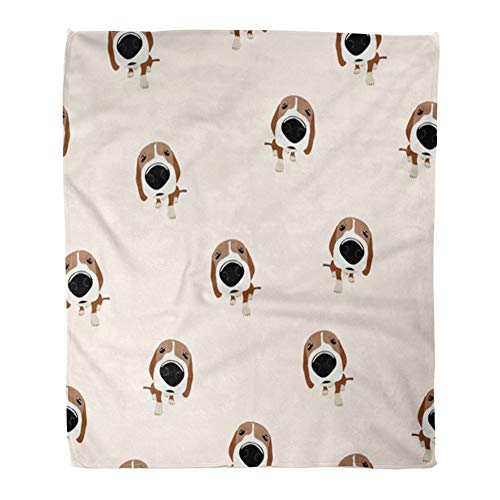 Emvency Throw Blanket Warm Cozy Print Flannel Cute Jack Russell Terrier Dog with Big Head and Nose Food Animal Bone Breed Comfortable Soft for Bed Sofa and Couch 50x60 Inches ()