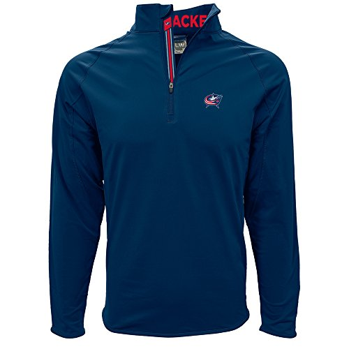 Levelwear LEY9R NHL Columbus Blue Jackets Men's Metro Insignia Banner Stripe Quarter Zip Mid-Layer Apparel, Small, Navy