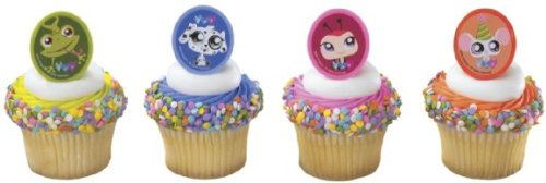 Bag of 12 ~ Littlest Pet Shop Pets Clips Picks ~ Cake / Cupcake Topper -