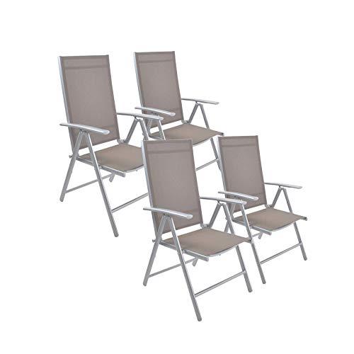 (Dporticus Set of 4 Patio Folding Sling Back Chairs Aluminum Adjustable Reclining Indoor Outdoor Deck Camping Garden Pool)