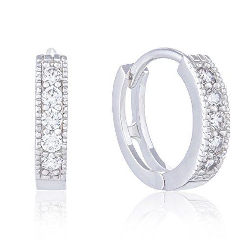 18k Gold Plated Cubic Zirconia Accent Hoop Earrings by Orrous & Co.