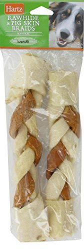 Bones Hartz Rawhide - Hartz Combo 10 Inch Pig Skin And Rawhide Braided Chew Treats For Large Dogs - 2 Pack