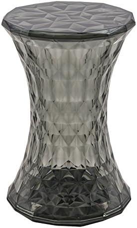 LeisureMod Diamond Shaped Modern Vanity Clio Stool/Side Table Indoor and Outdoor Use Black
