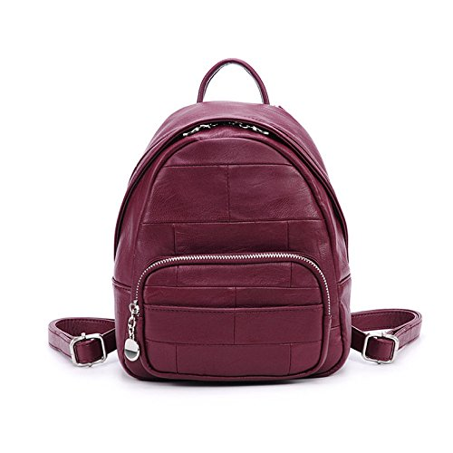 Ladies Pu Burgundy College Fashion Backpack Dhfud qO1wazO
