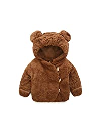 Gotd Baby Infant Girls Boys Autumn Winter Hooded Coat Cloak Jacket Thick Warm Clothes (0-6 Months, Coffee)