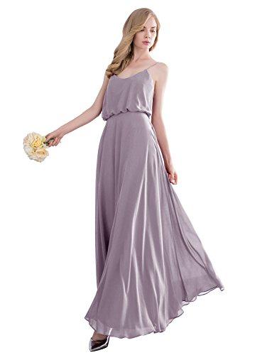 Gardenwed Simple Spaghetti Straps Flowy Long Bridesmaid Dress Formal Dress Dark Grey Size 8