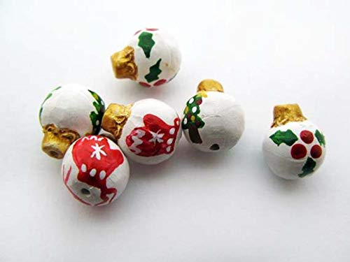 World's Natural Treasures - 10 Tiny Christmas Ornament Beads - Holly, Mittens, Tree - CB845 - Huge Selection of Beading Accessories