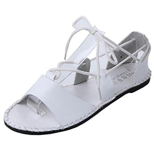FANIMILA Mujer Moda Punta Abierta Planos Cordones Sandalias Chicas Nature Style Zapatos Blanco