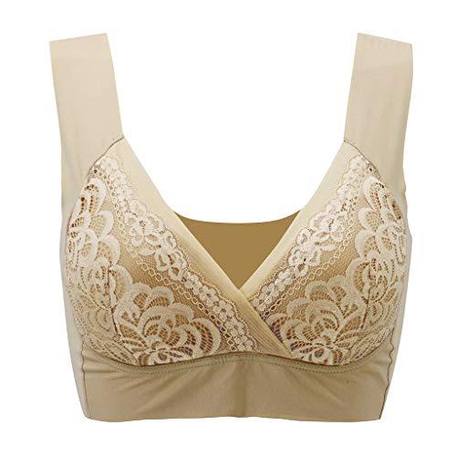 Jianekolaa Womens Plus Size Bras,Solid Color Wire Free Seamless Gather Push Up Beauty Back Sport Underwear Bra Beige