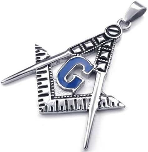 KONOV Mens Freemason Masonic Stainless Steel Pendant Necklace, Blue, 24 inch Chain