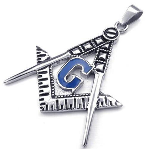 KONOV Mens Freemason Masonic Stainless Steel Pendant Necklace, Blue, 24