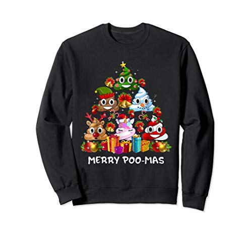 Poop Emoji Merry Christmas Tree Pajama Funny Gift Sweatshirt (Merry Christmas Emoji)