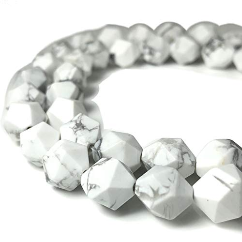 ([ABCgems] Matte African White Howlite 10mm Precision-Star-Cut Beads for Beading & Jewelry Making)