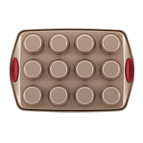 Rachael Ray Cucina Nonstick Bakeware 10-Piece Set, Latte Brown with Cranberry Red Handle Grips by Rachael Ray (Image #1)