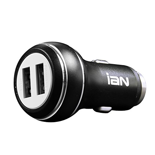 ASJ 24W Dual USB Car Charger, PowerDrive 2 for iPhone 7 / 6s / Plus, iPad Pro / Air 2 / mini, Galaxy S7 / S6 / Edge / Plus, Note 5 / 4, LG, Nexus, HTC and More (Black)
