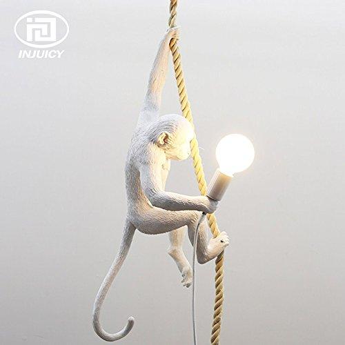 Injuicy Lighting Loft Vintage Resin Hemp Rope Monkey Pendant Lights Fixture Industrial Retro E27 Edison Ceiling Pendant Lamp Single Light for Dining Living Room Children's Bedroom Bar Cafe Gift by IJ INJUICY (Image #3)
