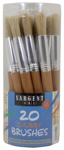 Sargent Art 56-4000 Chubby Brushes with Plastic Handles, 20 Count ()