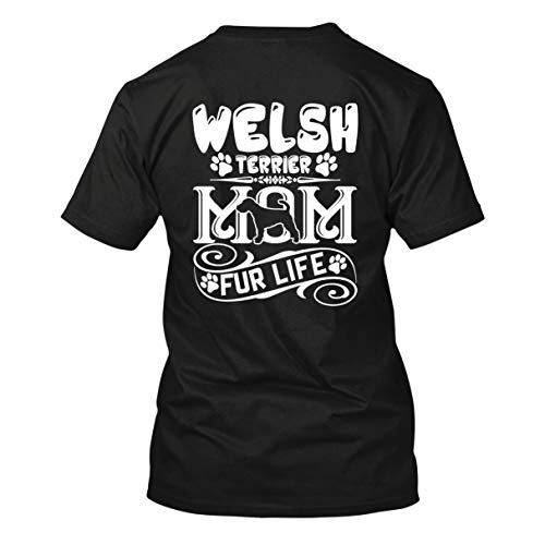 (Sheep Fly Welsh Terrier Mom Fur Life T Shirt, 100% Cotton Shirts, Clothes Black,2XL)