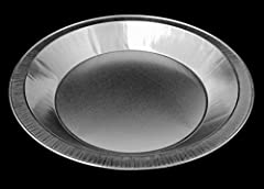 Here's a nice pie pan - smooth wall, heavy gauge aluminum foil - thicker and heavier than regular foil pans.  Reuseable with just a little care.  You can load this pan up with filling, it will handle a lot.   Quality is very good, made in USA...