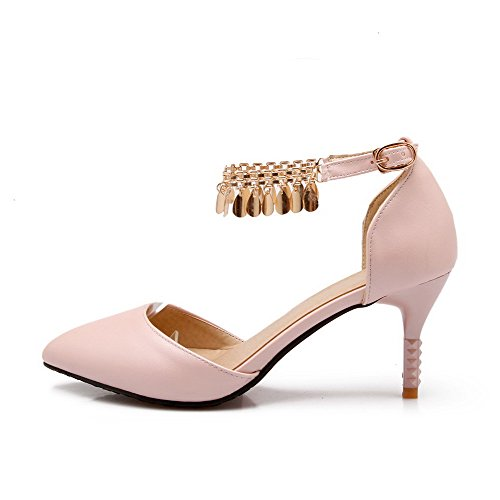 VogueZone009 Women's Buckle High Heels Pu Solid Pointed Closed Toe Pumps Shoes Pink SAM5UmwJ16