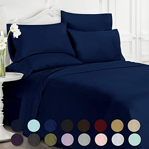 Swift Home Luxury Bedding Collection, Ultra-Soft Brushed Microfiber 6-Piece Bed Sheet Sets, Extremely Durable - Easy Fit - Wrinkle Resistant - (Includes 2 Bonus Pillowcases), Queen, Navy